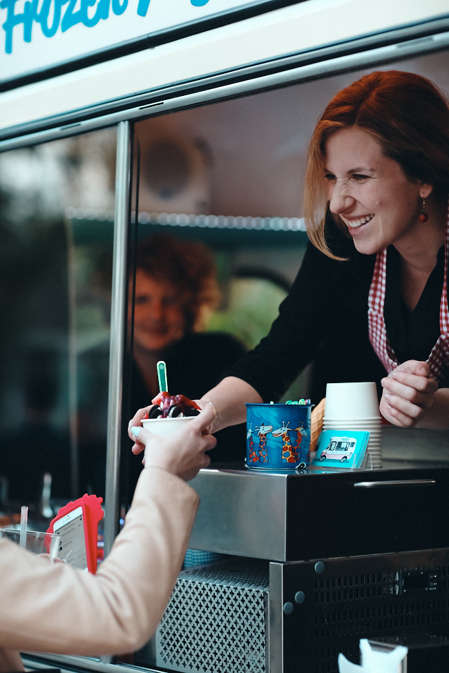 Eva Langhorst Mr Whippy's frozen yoghurt truck service with a smile